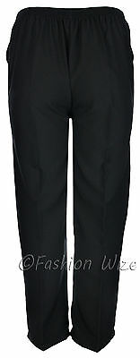 Sizes 8-30 Ladies Half Elastic Generous Fit Plus Fit Waist Comfort Fit Trousers 6