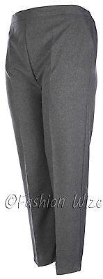 Sizes 8-30 Ladies Half Elastic Generous Fit Plus Fit Waist Comfort Fit Trousers 4