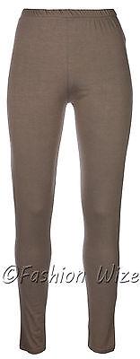 Ages 2-13 (20+ Colours) Girls Plain Full Length Legging Brown Black Grey White 9
