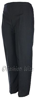Sizes 8-30 Ladies Half Elastic Generous Fit Plus Fit Waist Comfort Fit Trousers 7