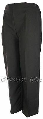 Sizes 8-30 Ladies Half Elastic Generous Fit Plus Fit Waist Comfort Fit Trousers 12