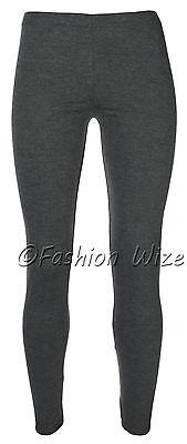 Ages 2-13 (20+ Colours) Girls Plain Full Length Legging Brown Black Grey White 8