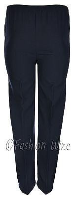 Sizes 8-30 Ladies Half Elastic Generous Fit Plus Fit Waist Comfort Fit Trousers 9