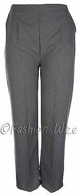 Sizes 8-30 Ladies Half Elastic Generous Fit Plus Fit Waist Comfort Fit Trousers 2