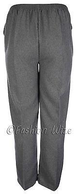 Sizes 8-30 Ladies Half Elastic Generous Fit Plus Fit Waist Comfort Fit Trousers 3