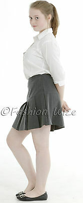 Girls Womens Pleated School Skirt Drop Waist Grey Black Navy Ages 5-16 Size 6-24 5