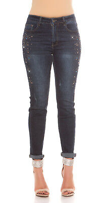 Curvy Girls Plus Size Blue Skinny Jeans with Decoration on Legs UK 12-20