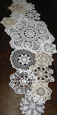 "lot of 14 Hand Crochet Doilies 5""-7""-15"" Wht & Natur VTG Wedding Tea Party NEW"