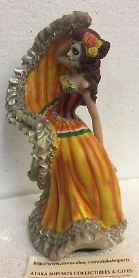DOD Day of the Dead Mexican Halloween Lady Dancer Orange Skirt Dress Figurine 2