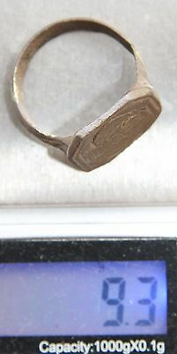 Ancient Bronze Finger Pseudo-Heraldry Seal Ring (JUL50)