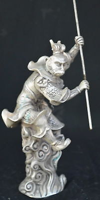 9.15Inch Chinese Ancient Tibet Silver Wear Robe Monkey King Gold Hoop Old Statue 3