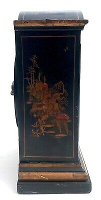 Chinoiserie Bracket Mantel Clock Hand Painted Black And Gold With Engraved Dial 3