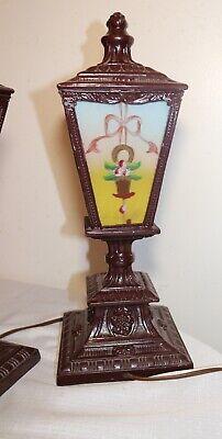 pair of antique vintage ornate reverse painted glass metal table boudoir lamps 11