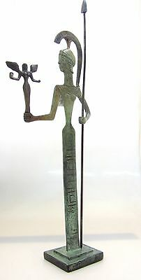 Ancient Greek Bronze Museum Statue Replica Of Athena Wth A Spear And Winged Nike 2