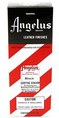 Leather Shoe Shine KIT BLACK polish + Lustre Cream & 2 horsehair brushes Angelus 5