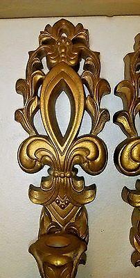 Mid Century Gold Wall Sconces Fleur De Lis Hollywood Regency Gia Inc. 2
