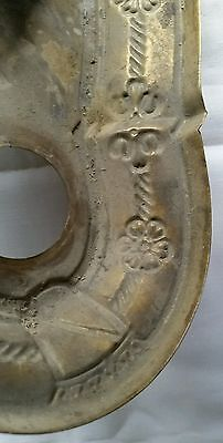 Antique Victorian Brass Ceiling Light Fixture Flush 2 Socket Embossed Flowers 9