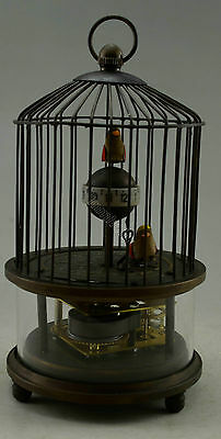 Collectible Decorated Old Handwork Copper 2 Bird In Cage Mechanical Table Clock 3