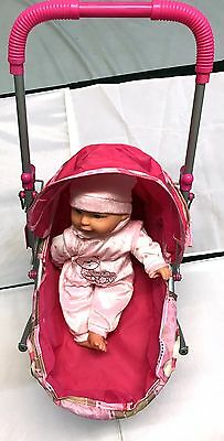 Pink Stroller With Pink Doll Toy 4