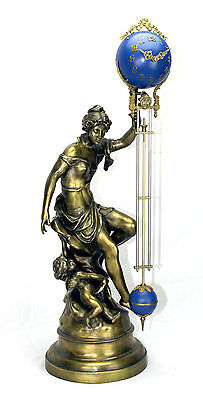 Excellent Ansonia Cut 8 Day Movement Brass Fortuna Lady Mystery Swinger Clock