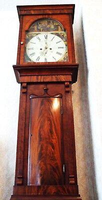 Beautiful Scottish 19th Century Flame Mahogany 8 Day Longcase Clock