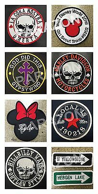Custom Embroidered Skull Logo Motorcycle Biker Sew on Round Patch All Sizes