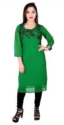 Women Bollywood Indian Long Kurti Tunic Kurta Top Shirt SC2009 UK STOCK