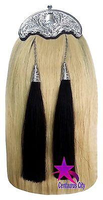 New Scottish Kilt Sporran White Horse Hair Thistle Cantle/Piper Kilt Sporrans 2