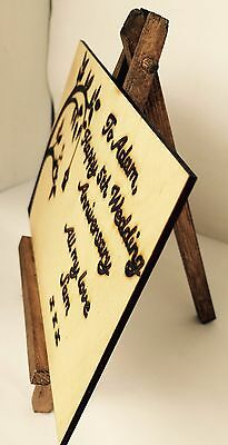 HANDMADE 5TH WEDDING Anniversary Card Wood Greeting Wooden Alternative Card  Love