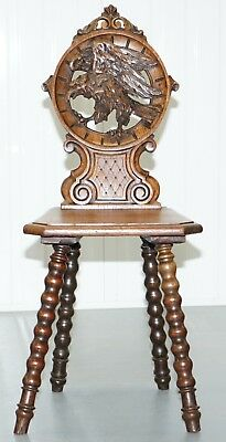 Rare 19Th Century Black Forrest Carved Hall Chair Hand Carved Hawk Bobbin Turned 2