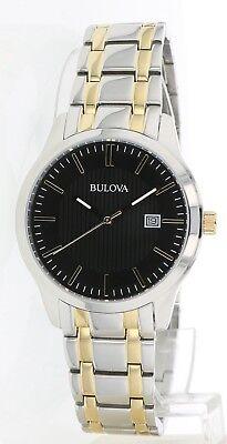 Bulova Men's 98B237 Quartz Black Dial Gold-Tone Accents Two-Tone Band 39mm Watch 2