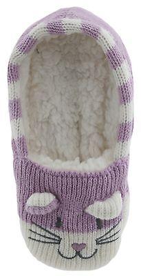 RJM Girls Soft Knitted Cat Slipper Socks with Grippy Soles 10