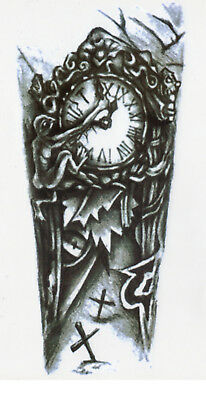 Temporary Tattoo Black Gothic Clock Fake Body Art Sticker Waterproof Mens Ladies 5