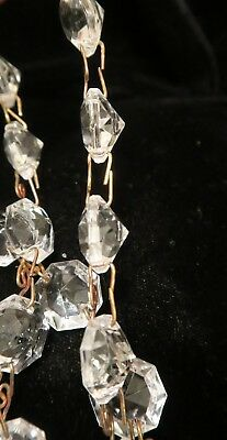 """35"""" vintage ITALY Crystal Glass Prism chain Lamp Chandelier sconce Part brass 11"""