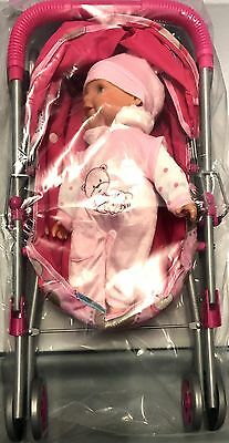 Pink Stroller With Pink Doll Toy 2