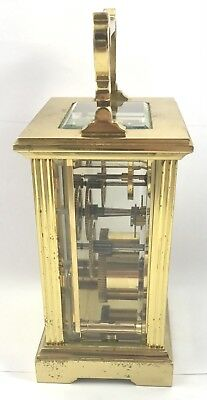 FRASER HART Brass Carriage Mantel Clock Timepiece with Key  Working Order 5