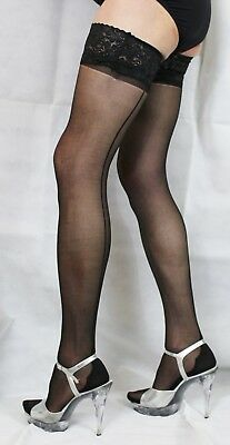 Black Large Size 15 Denier  Luxury Lace Top French Heel Seamed Satin Hold Up