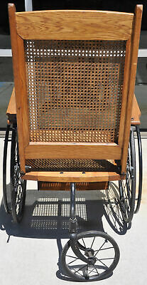 Antique Cane Back Wheelchair Oak Metal Three Wheel Chair Old 520 C Adjustable 6