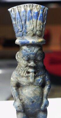 ZURQIEH -as5067- ANCIENT EGYPT , HUGE LAPIS LAZULI BES AMULET. 1400 - 1100 B.C 2