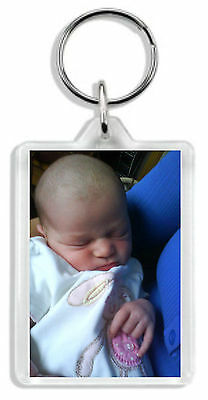 Personalised Photo Keyring Any image &/or text Large size 70 x 45mm Great Gift! 2