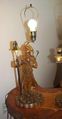 """2 Vtg Art Deco Era Wooden Table Lamps Chandeliers Fixtures   """" Light Keepers"""" 10"""