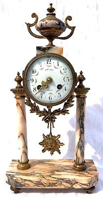 French Antique Pink Orange Rouge Marble Bracket / Mantel Clock Garniture Set 2