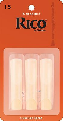 Rico Orange Bb Clarinet Reeds by D'Addario 3 Pack 1.5 2 2.5 3 Free Delivery