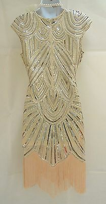 1920's Gatsby Vintage Charleston Sequin Tassel Flapper Dress  8 10 12 14 16 18