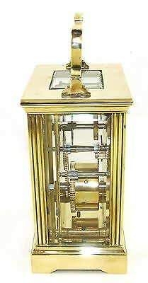 French Brass Carriage Clock with Bevelled Glass & Winding Key WORKING 7