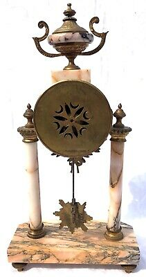 French Antique Pink Orange Rouge Marble Bracket / Mantel Clock Garniture Set 4