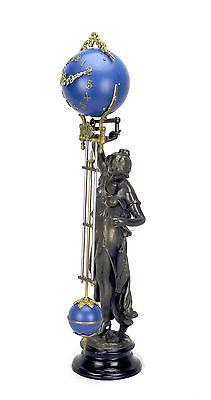 Beautiful Ansonia Cut 8 Day Movement Brass Fisher Lady Mystery Swinger Clock 2