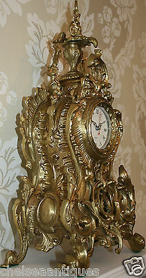 ANTIQUE Louis XV French Bronze Clock Gilt Ormolu Mantel Tall/Large Ornate/Rococo 3