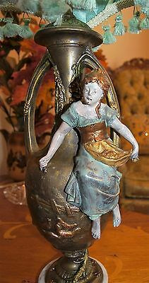 Antique Victorian Figural Peasant Girl  Lamp Chandelier Signed F. Morua France 5