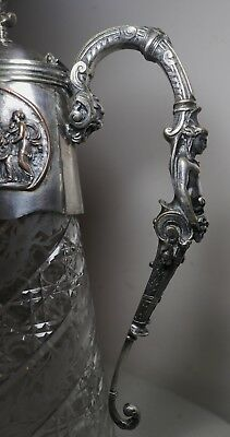 antique 1800's JOHN GRINSELL & SONS silver plate crystal figural claret pitcher 11